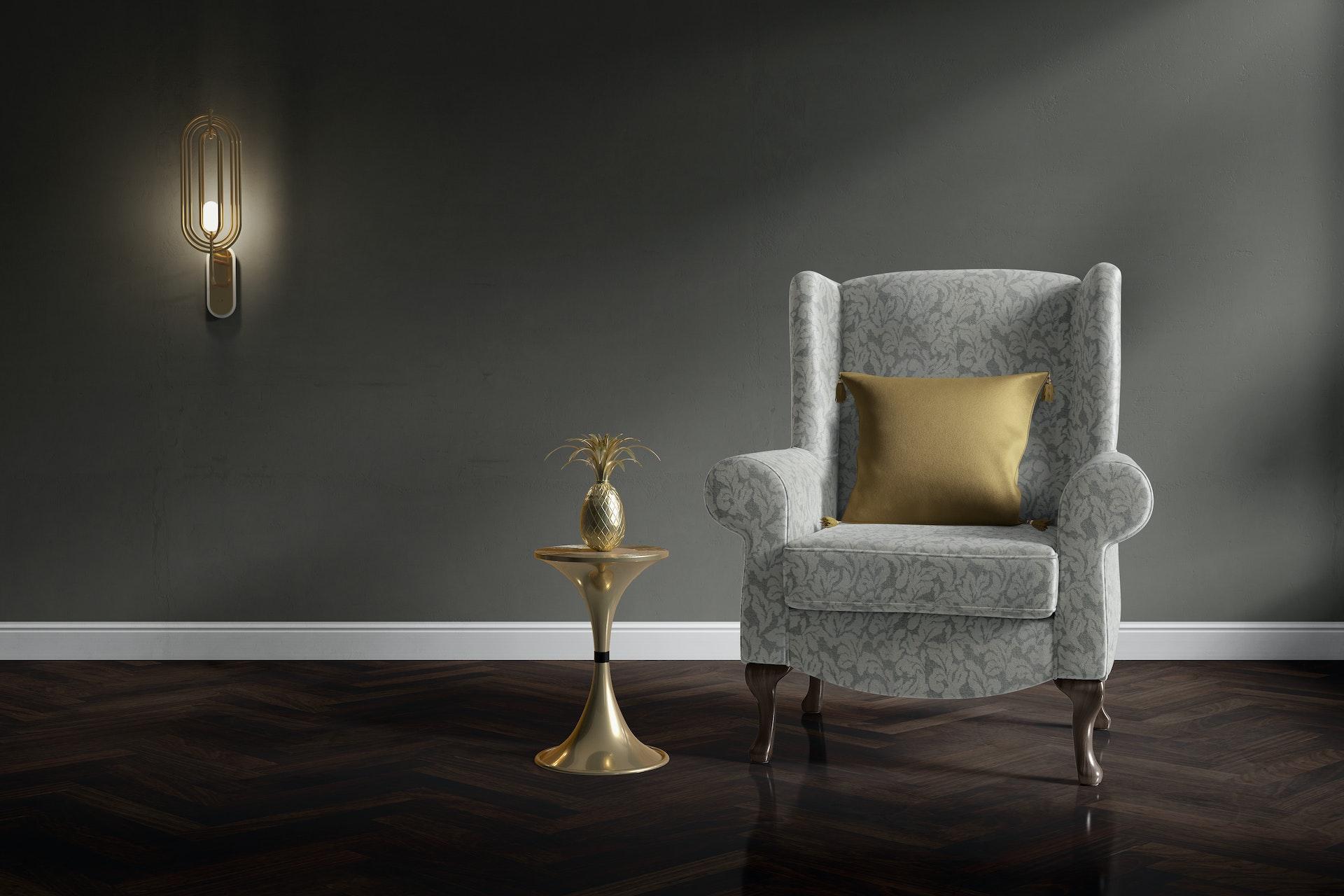 Arm Chair in Arturo Leaf 3847 with Cushion